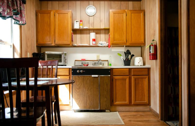 Cabin kitchen at Kel's Kove.