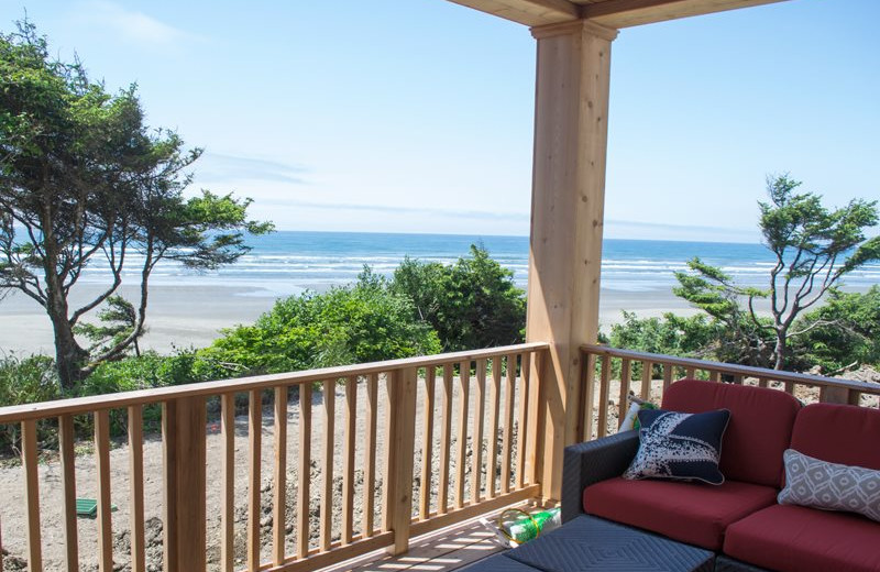 Rental deck at Seabrook Cottage Rentals.