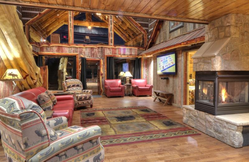 Cabin living room at Oak Haven Resort.
