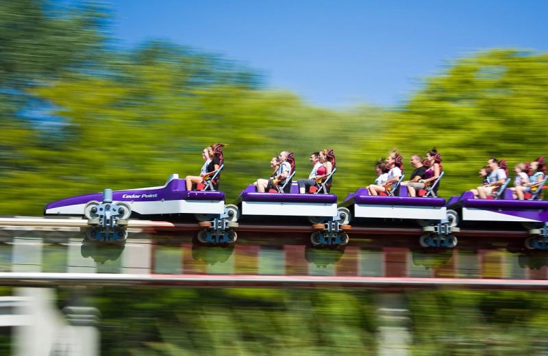 Riding the roller coaster at Cedar Point Resort.