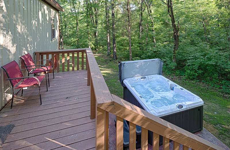 Cabin hot tub at Willowbrook Cabins.