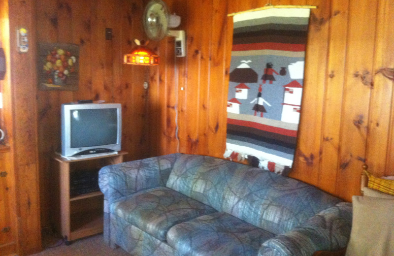 Cabin living room at Radtke's Sabinois Point Resort.