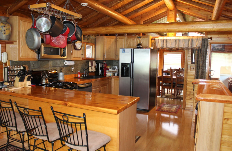 House kitchen at Kenai River Drifter's Lodge.