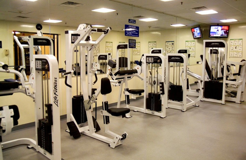Fitness center at Clarion Resort Fontainebleau.
