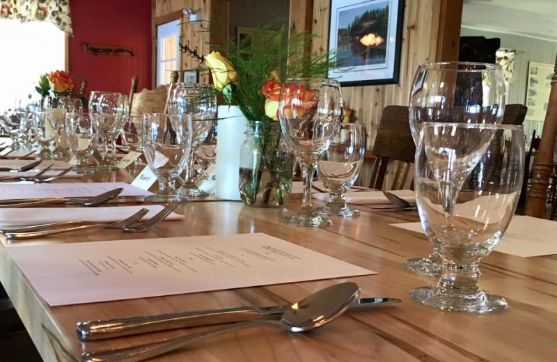 Dining at Bartlett Lodge.