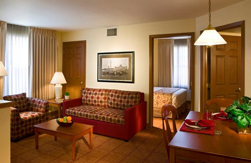 Guest room at TownePlace Suites Detroit Dearborn.