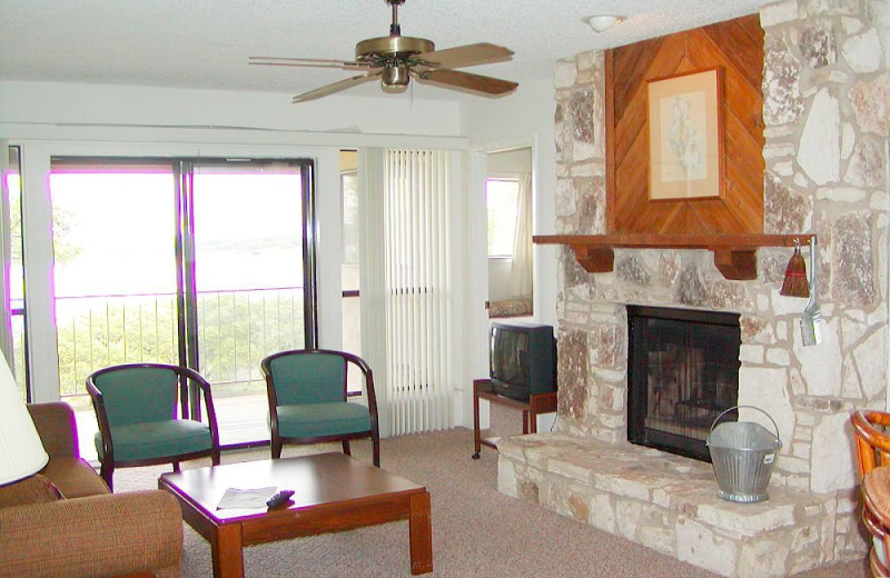 Vacation rental living room at Lake Pointe Resort.