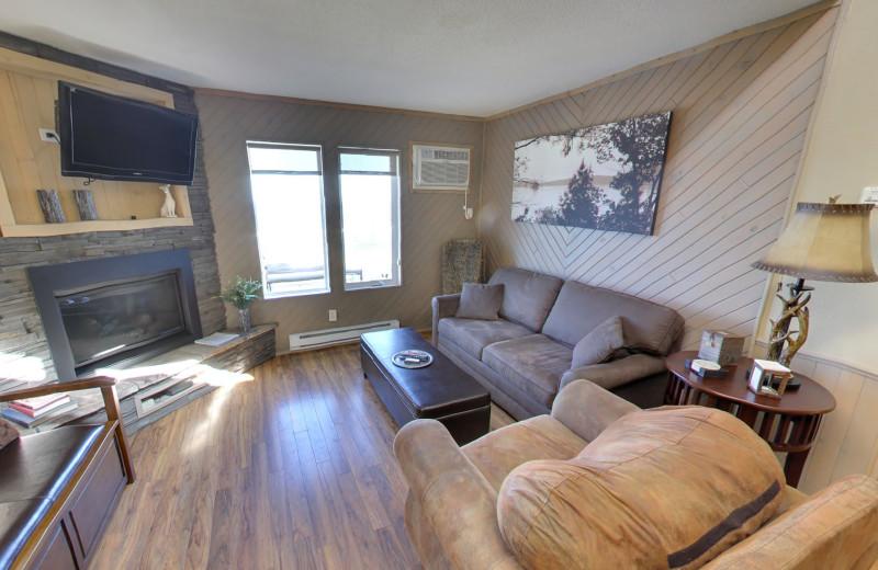 Cabin living room at Buffalo Point Resort.