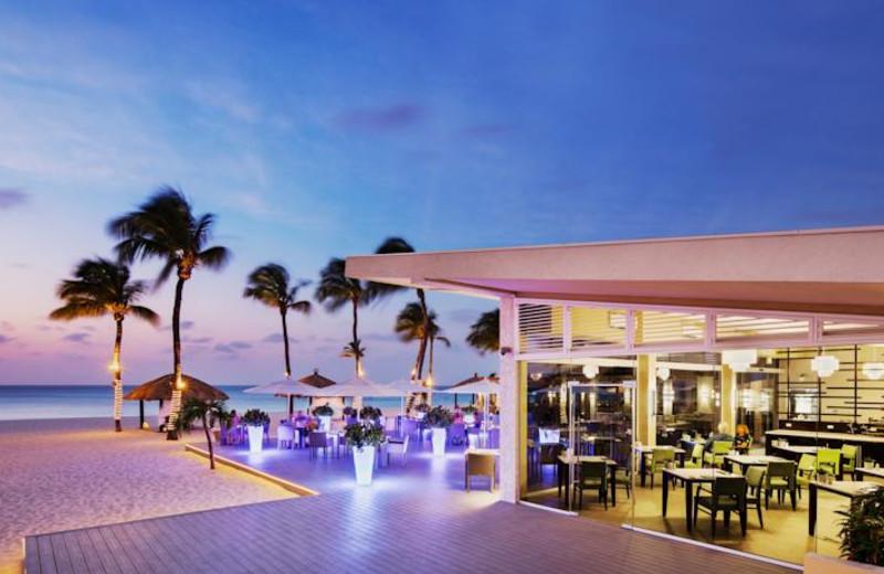 Dining at Bucuti Beach Resort Aruba.