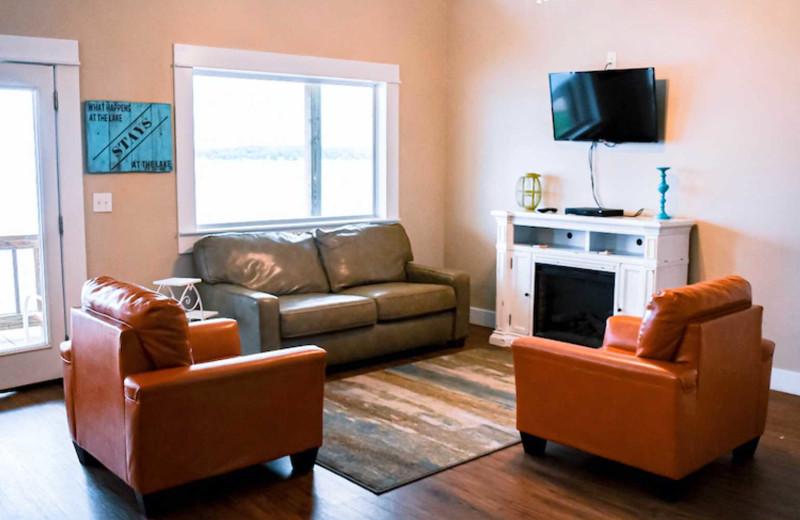 Cabin living room at D'Arbonne Pointe.