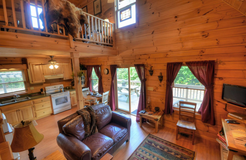 Rental living room at Smoky Mountain Cabins.