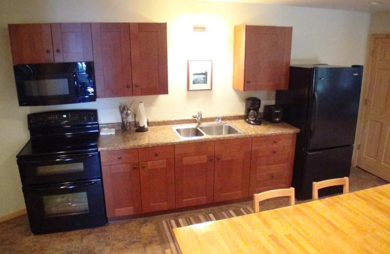 Kitchen view at Five Lakes Resort.