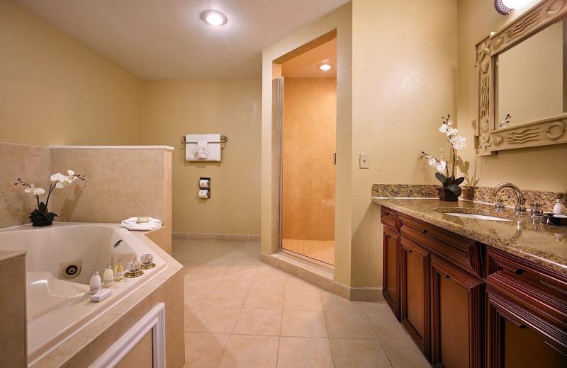 Guest bathroom at Plaza Resort & Spa.