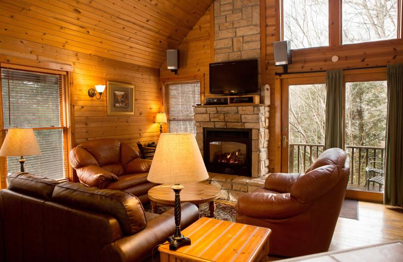Cottage living room at Harvest Moon Cottages.