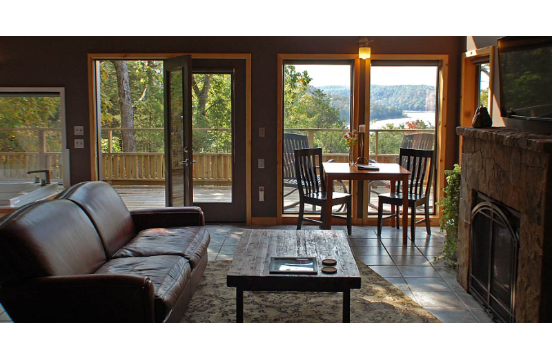 Cabin living room at Beaver Lakefront Cabins.