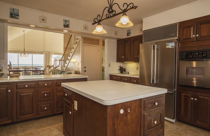 Rental kitchen at Oak Island Accomodations.