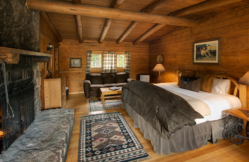 Cabin bedroom at Rawah Ranch.