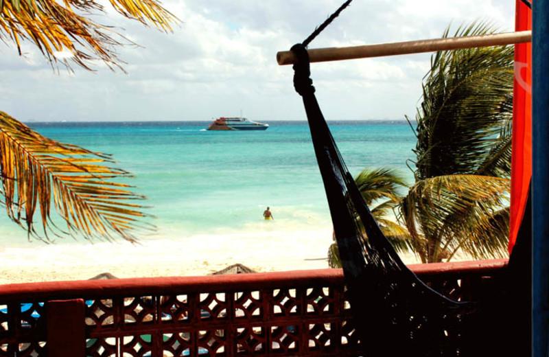 View of beach at Fusion Beach Hotel Bar & Grill.