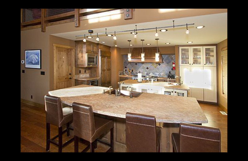 Vacation rental kitchen at Mammoth Property Reservations.
