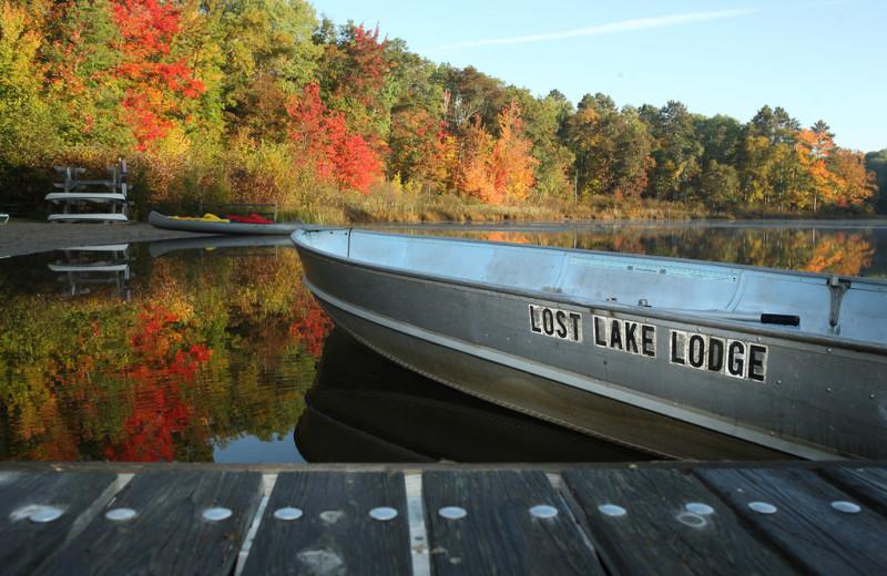 Boat dock at Lost Lake Lodge.
