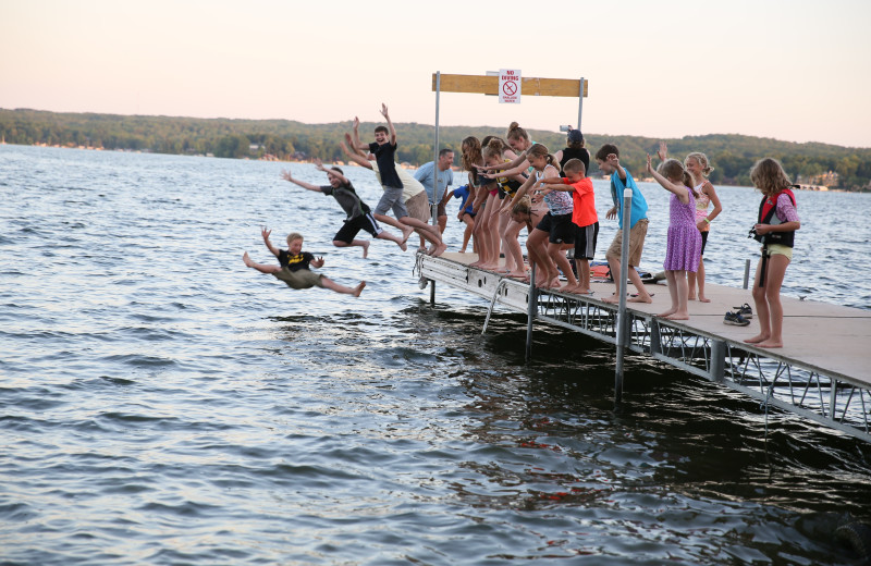 A jump in Pelican Lake after the Monday night Campfire with Larry