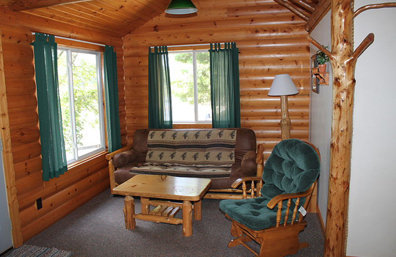 Cabin living room at Upper Cullen Resort.