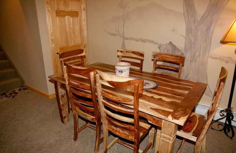 Condo dining table at Bear Creek Vacation Condos.
