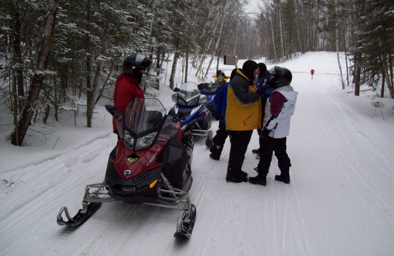 Snowmobiling at Edgewater Inn & Cottages.
