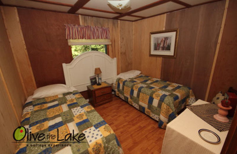 Cabin bedroom at Olive the Lake.