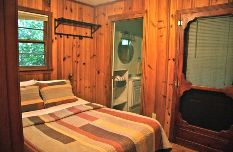 Cabin bedroom at Linville Cabins.