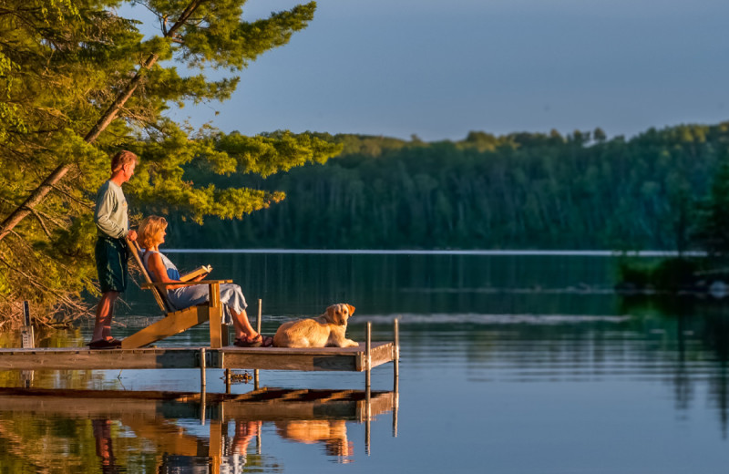 Couple on dock at Buckhorn on Caribou Lake.