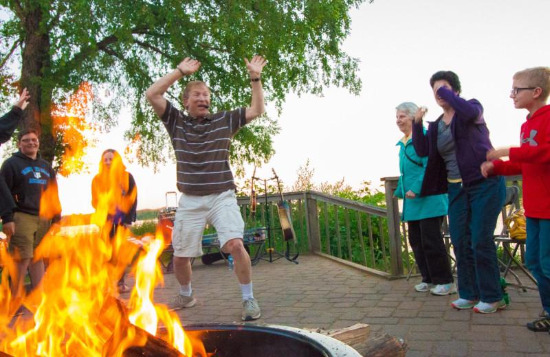 Bonfire at Ruttger's Bay Lake Lodge.
