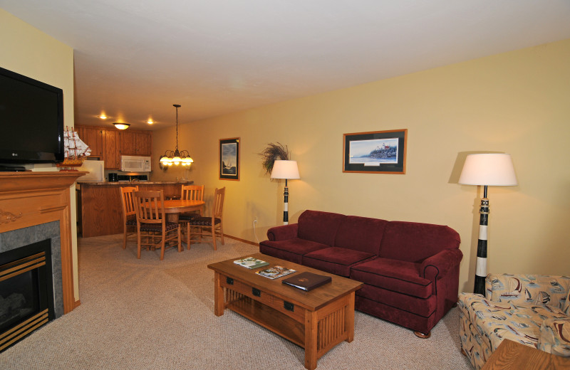 Guest living room at Westwood Shores Waterfront Resort.
