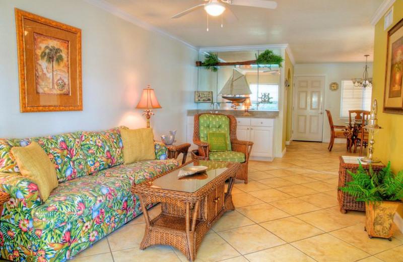 Vacation rental living room at Barefoot Beach Resort.