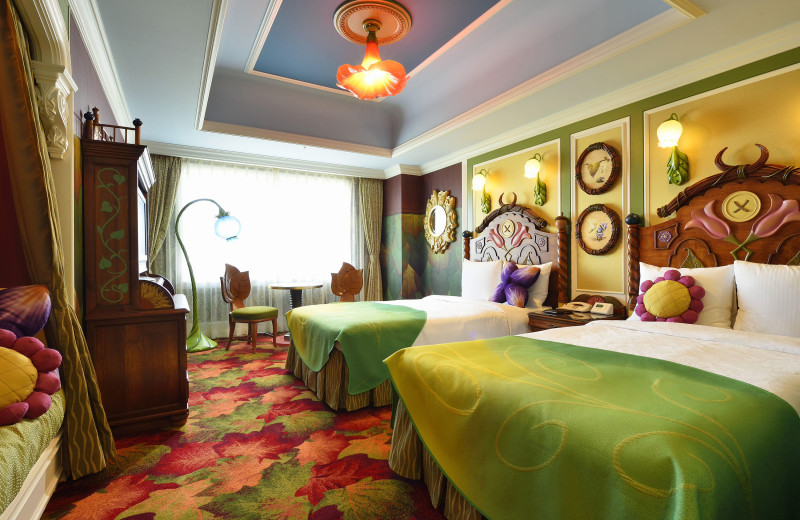 Character themed guest room at Tokyo Disneyland Hotel.