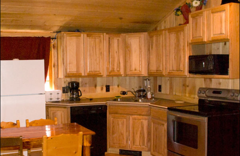Cabin kitchen at Shoshone Lodge & Guest Ranch.