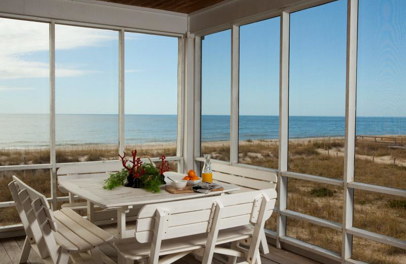 Vacation rental patio at Bald Head Island Limited.