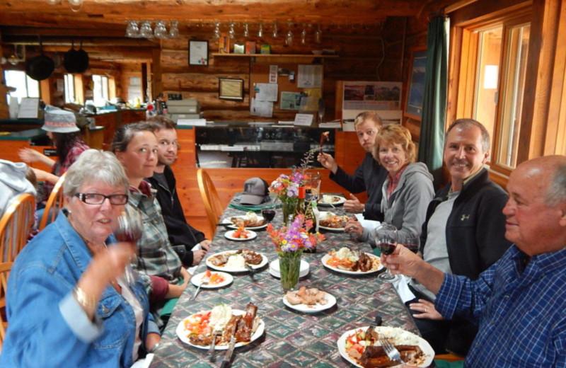 Dining at Chaunigan Lake Lodge.
