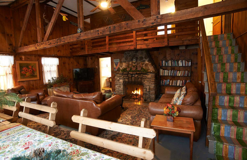 Lodge living room at Cottage Place on Squam Lake.