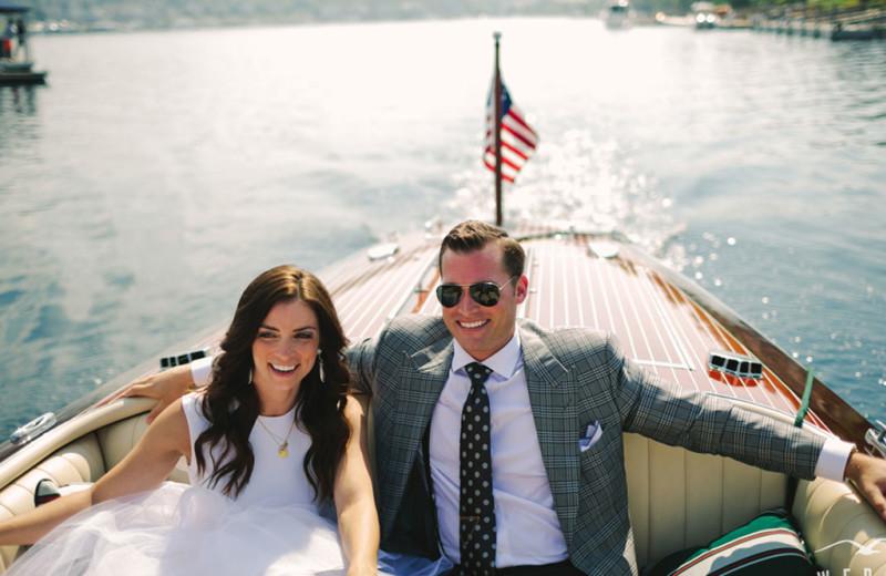 Wedding couple on boat at Bay Harbor Resort and Marina.