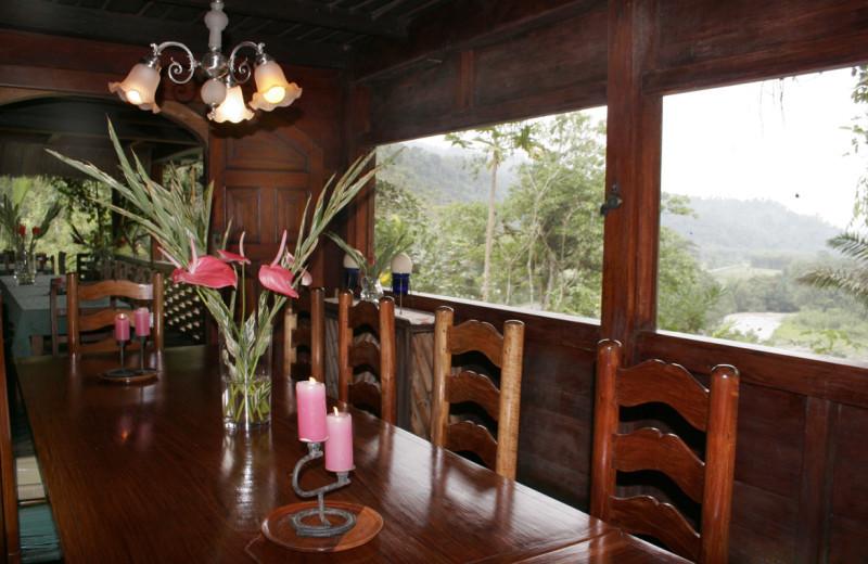 Dining at Hacienda Tinalandia Hotel and Nature Reserve.