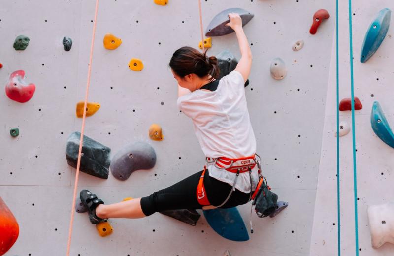 Rock climbing at American Mountain Rentals.