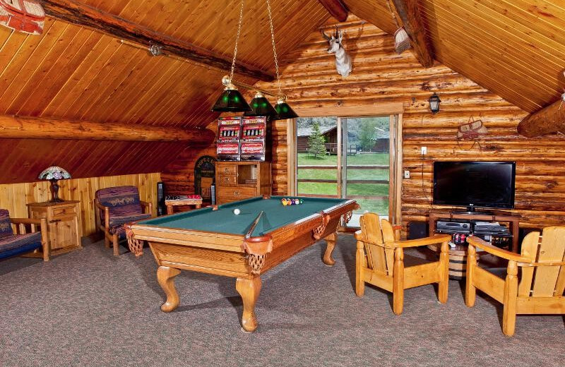 Lodge game room at Goosewing Ranch.