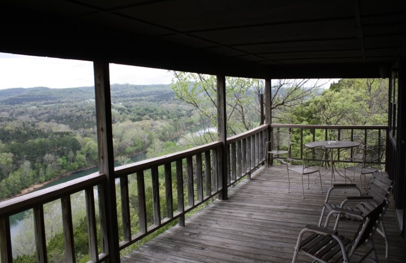 Cabin deck at Arkansas White River Cabins.