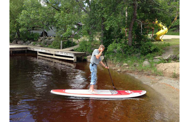 Paddle boarding at Silver Rapids Lodge.