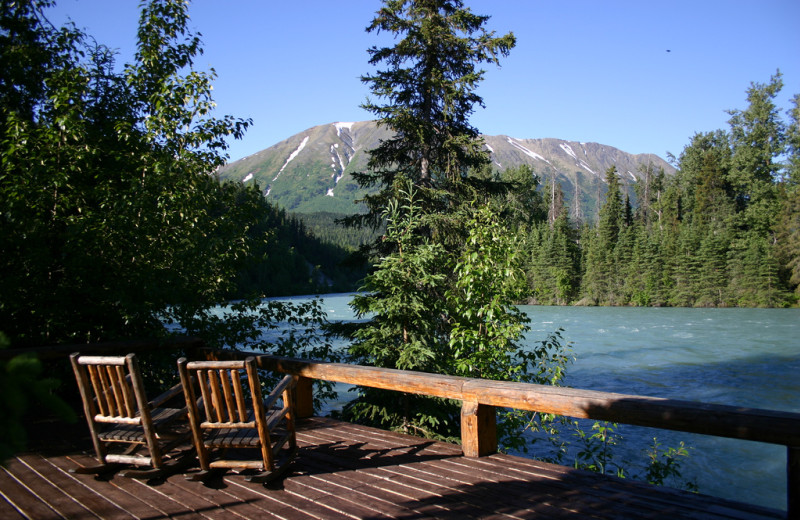 Deck at Kenai Riverside Lodge.