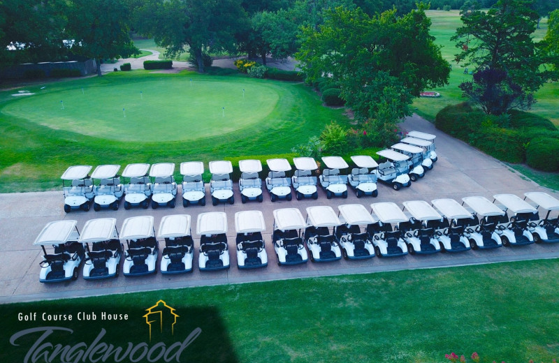 Golf carts at Tanglewood Resort and Conference Center.