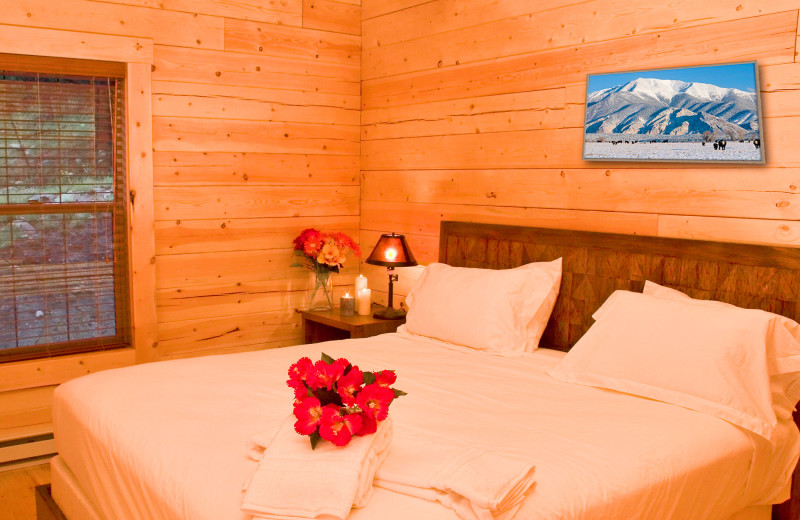 Cabin bedroom at Mt. Princeton Hot Springs Resort.