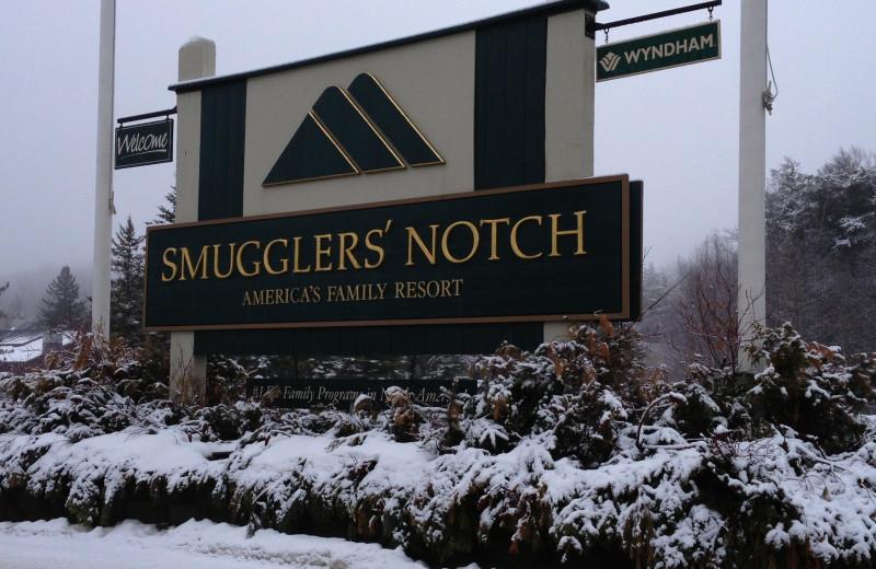 Smugglers' Notch Resort sign.