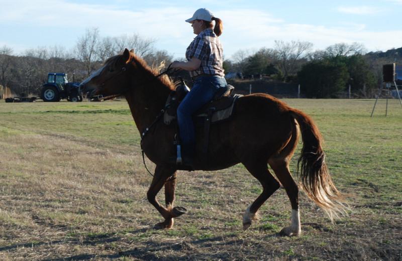 Horseback riding at Fredericksburg Ranch.